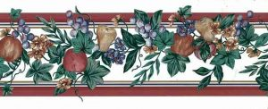 Vintage Fruit Wallpaper Border with dark red striped edges