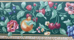 green fruit medley vintage wallpaper border, pears, cherries,