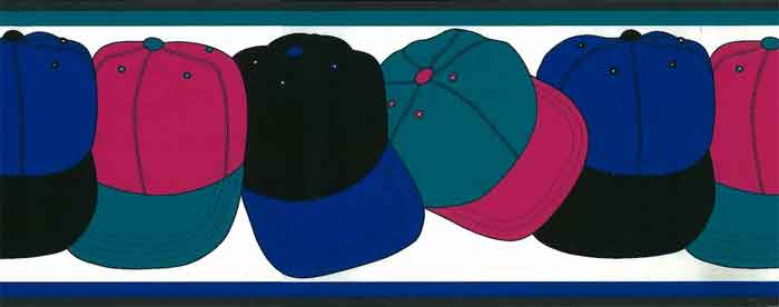 Vintage Hats Wallpaper Border with ball caps in bright colors