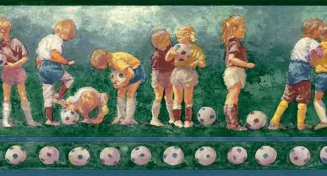 Vintage Soccer Balls Wallpaper Border featuring young children