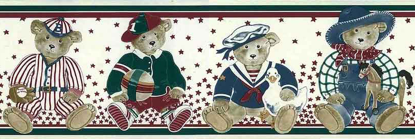 Bears Vintage Wallpaper Border with Star Background