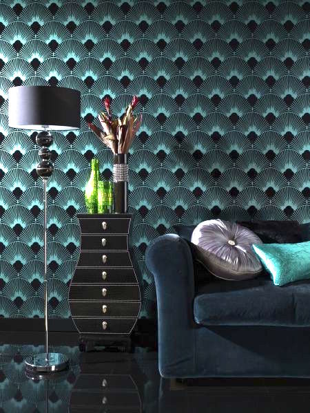 2017 Wallpaper design trends, blue black peacock wallpaper
