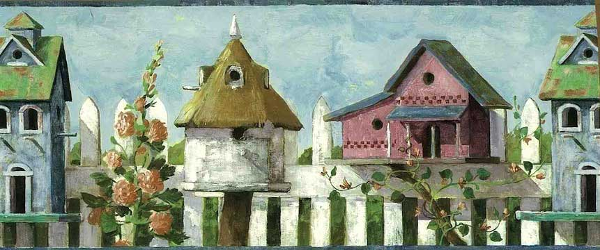 Bird Houses Vintage Wallpaper Border White Picket Fence Blue FA6180