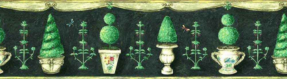 Green Topiaries Vintage Wallpaper Border with Gray Scroll Edges