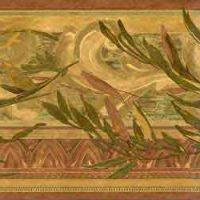 Leaves vintage wallpaper border, scrolls, gold, green