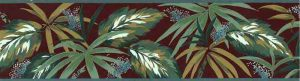 Tropical Leaves Wallpaper Border in Sage Green & Brick Red