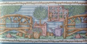 Wooden Benches Vintage Wallpaper Border with Topiaries