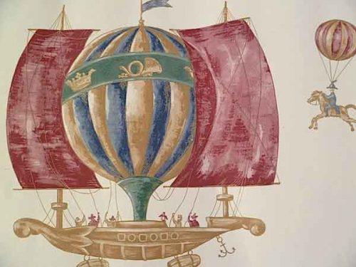 Hot Air Balloons Wallpaper Border with Ships on Cream
