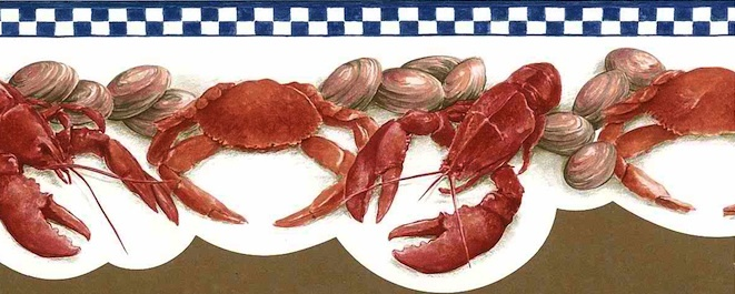 Lobster Vintage Wallpaper Border with Crabs & Clams