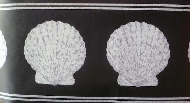 Vintage Seashell Wallpaper Border in Black & Gray Pearl