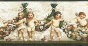 Cupids Vintage Wallpaper Border in creamy gray, green, & bronze