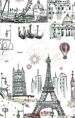 wallpaper Paris London Venice, tres chic scene, gondolas, Eiffel Tower, Tower of London