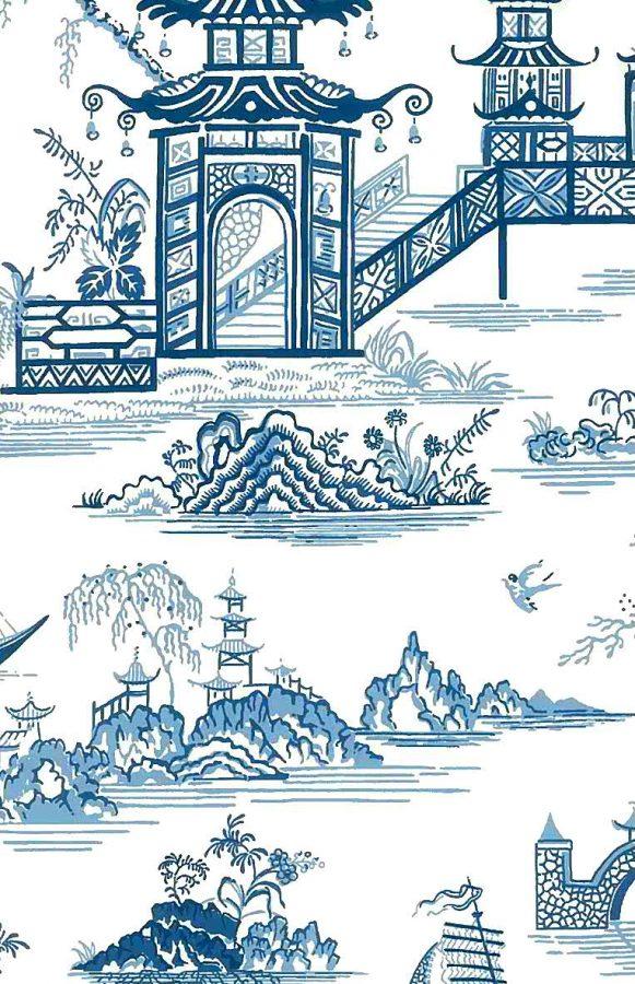 Wallpaper Waverly Toile Oriental, blue white, oriental, asian, pagodas, temples