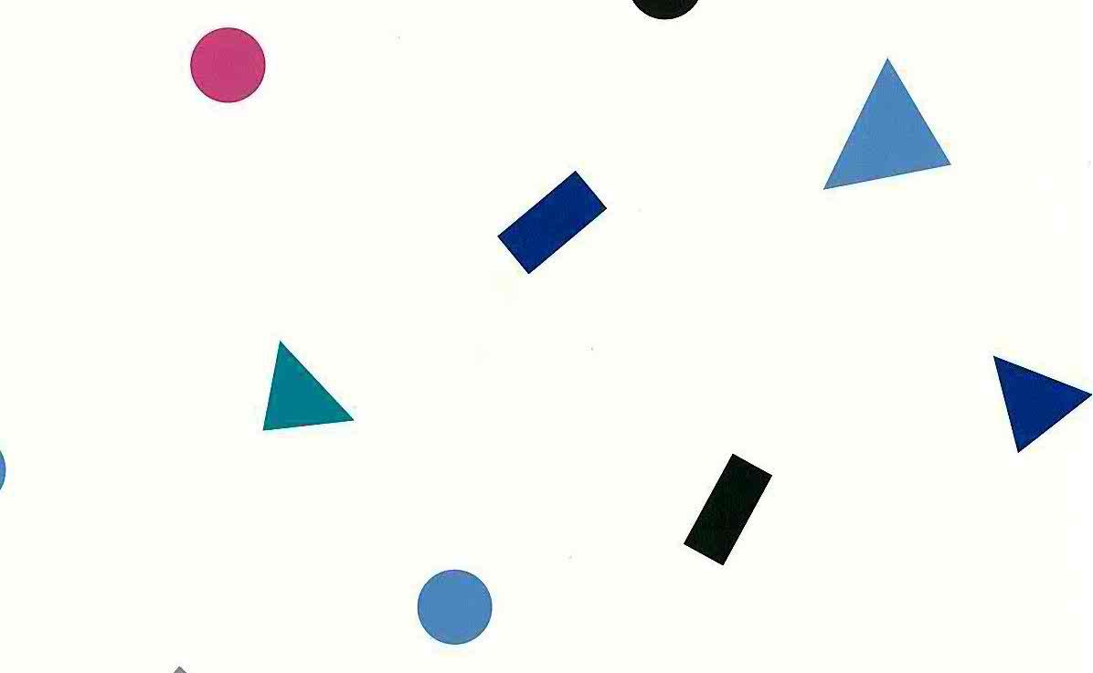 geometric shape vintage wallpaper, circles, triangles, rectangles, black, white, blue, pink, mid-centrury