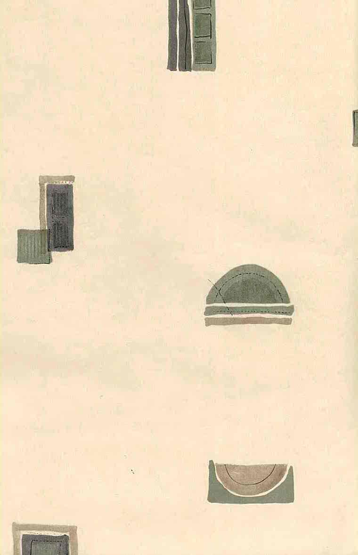 geometric vintage wallpaper,squares, rectangles, circles, olive, beige