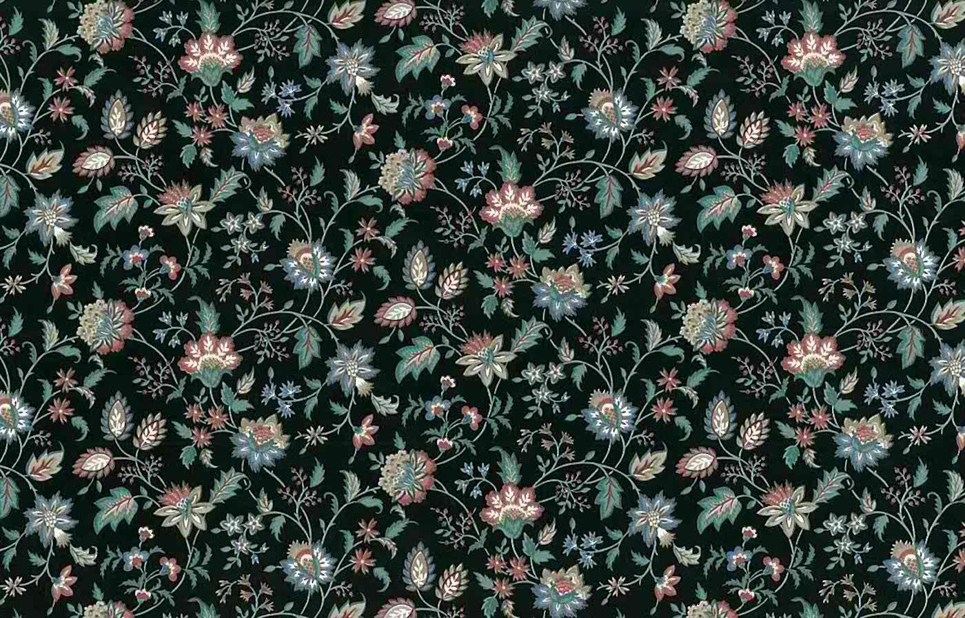 Paisley Vintage Wallpaper Black Green Blue Rose White