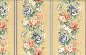 floral stripe vintage wallpaper, roses, daises, pink blue, green, pearlzed