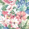 hibisucs floral wallpaper, pink, blue