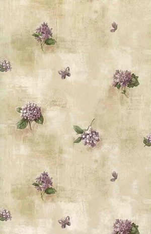 Lilacs vintage wallpaper purple green beige