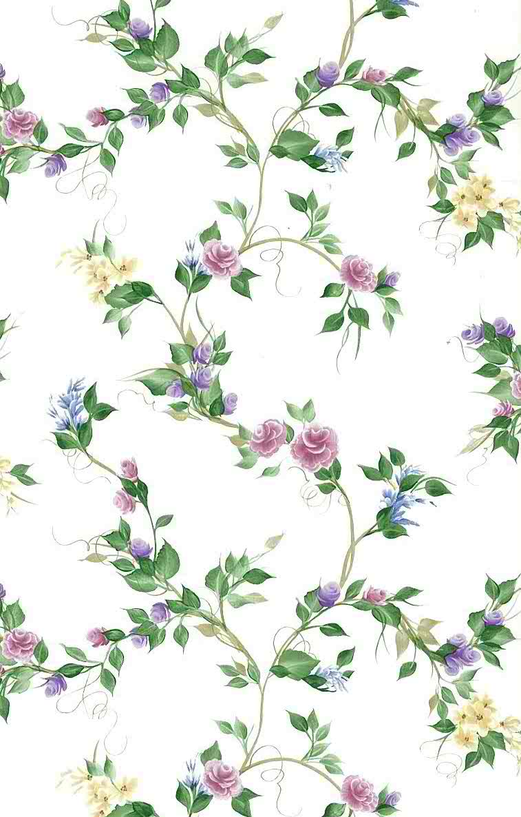 Pink Purple Roses Vintage Wallpaper Yellow Green Vines 240