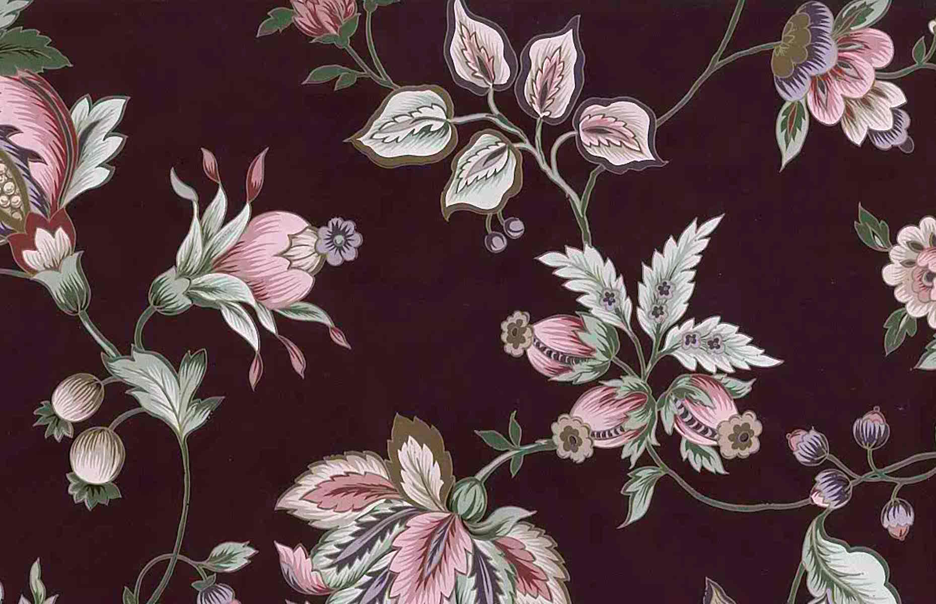 Maroon Floral Vintage Wallpaper Pink Rose Green Gold Metallic 24702