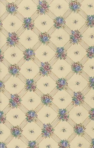 lattice floral vintage wallpaper, beige, rose, blue