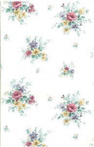 Floral nosegays vintage wallpaper, pink, purple, yellow, white