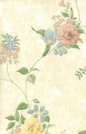 pastel flowers vintage wallpaper, pink, blue, cream, faux finish