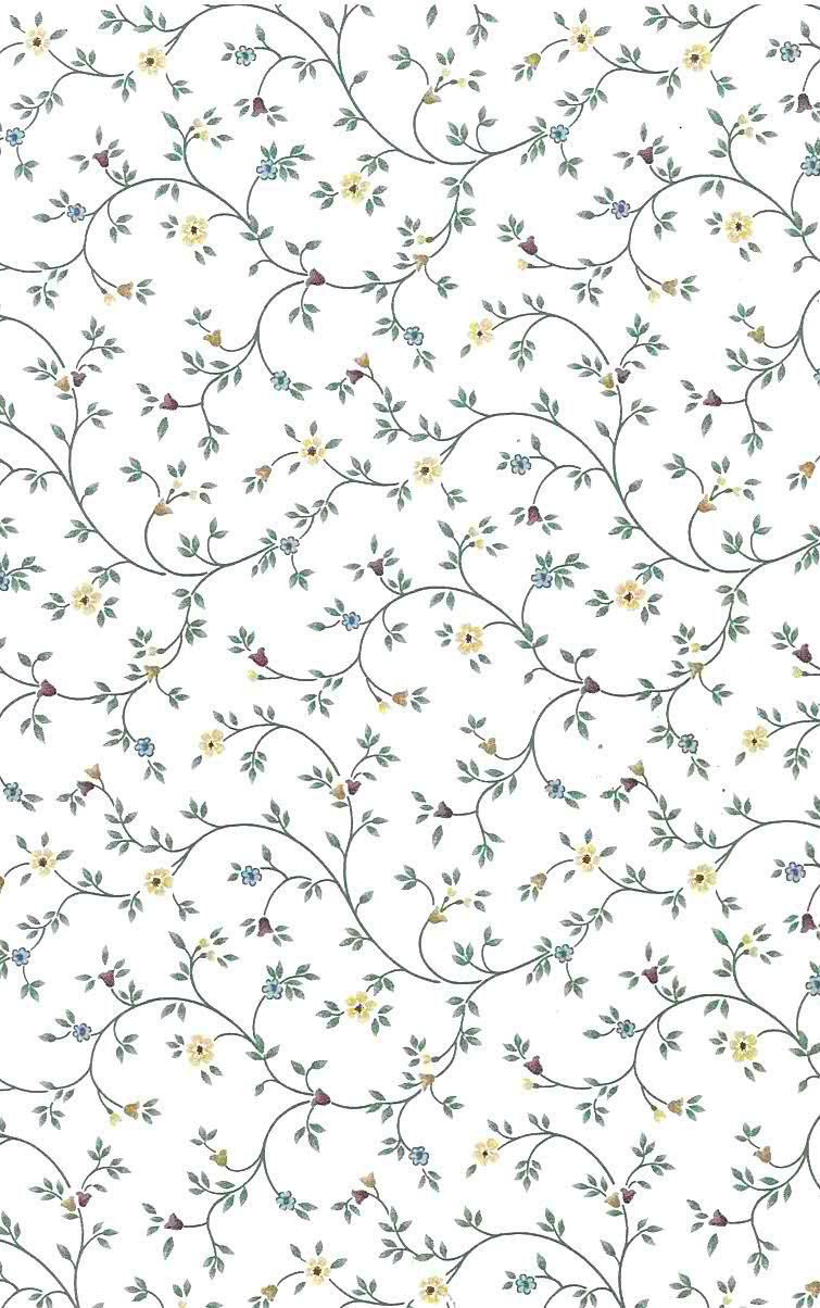 Vines Small Floral Vintage Wallpaper Yellow Red Green 26328 Drs