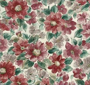 Large floral vintage wallpaper, pink, red, rose, green, off-white,