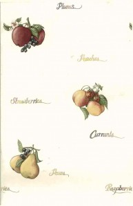 script vintage wallpaper apples grapes plums