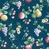 navy fruit floral vintage wallpaper,pears,grapes