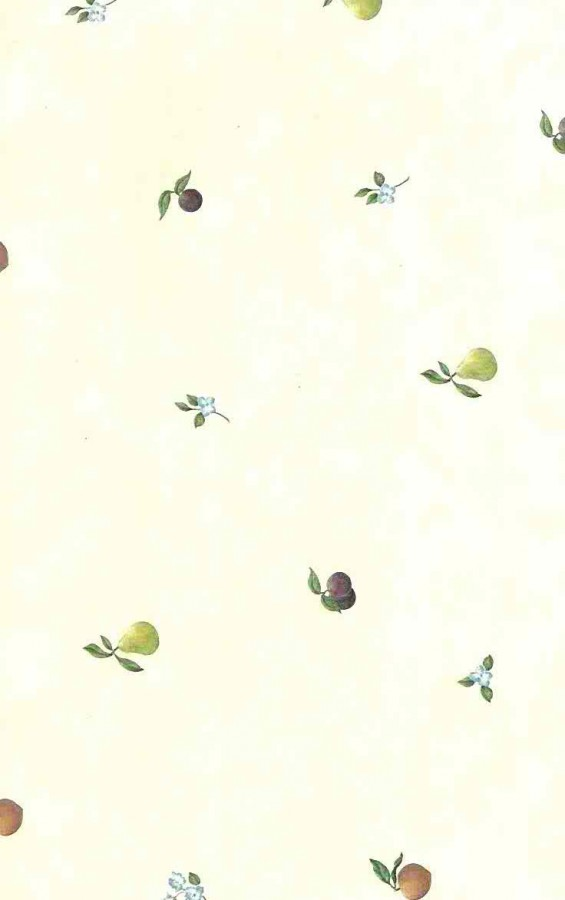 Kitchen vintage wallpaper,pears, plums, peaches,flowers,