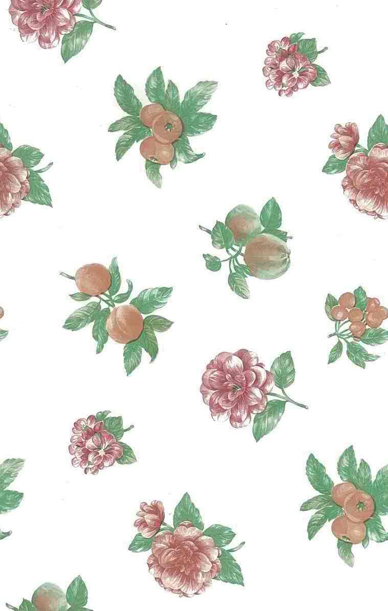 Fruit flowers vintage wallpaper,peach,rose,Shand Kydd