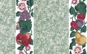 Green fruit vintage wallpaper, pears, plums, grapes green, white, faux finish