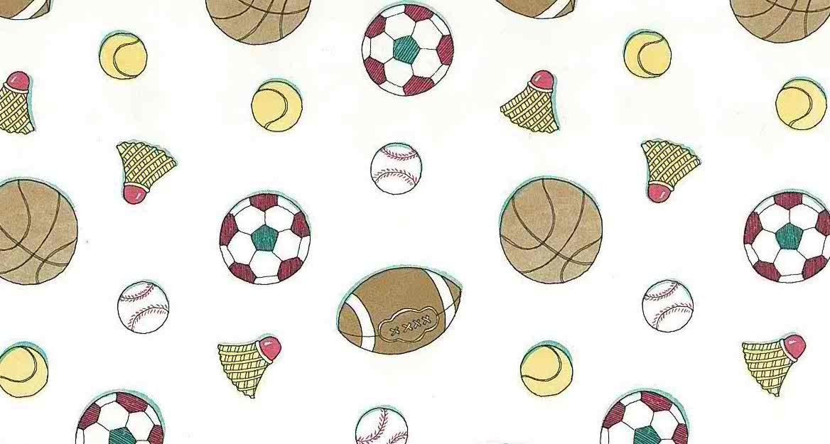 Kids Sports Vintage Wallpaper Soccer Badminton Baseball