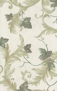Leaves scrolls vintage wallpaper,greem, yellow, ivory, glazed, textured