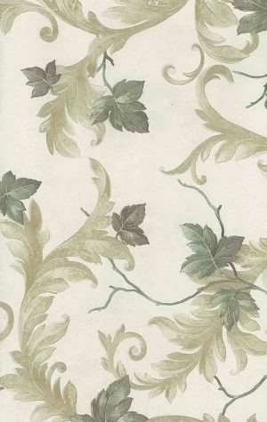 Leaves scrolls vintage wallpaper,greem, yellow, ivory, glazed, textured