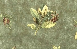 Trees wallpaper, Eddie Bauer, nature, leaves, pine cones, green, brown, yellow, faux finish, linen-like, rustic