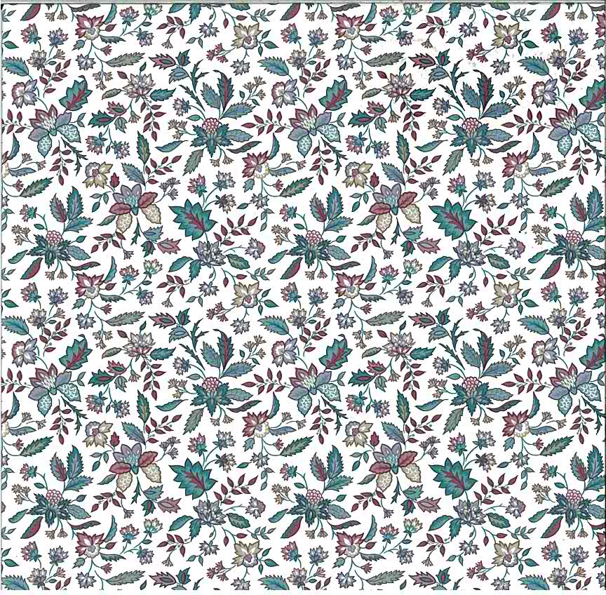paisley floral vintage wallpaper, teal, fuchsia, beige, white, cottage style