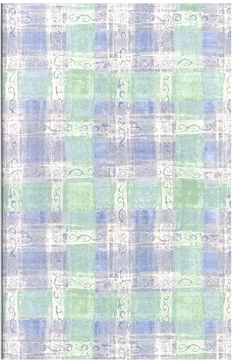 Green Plaid Vintage Wallpaper Blue Pink Off White Watercolor HM6607