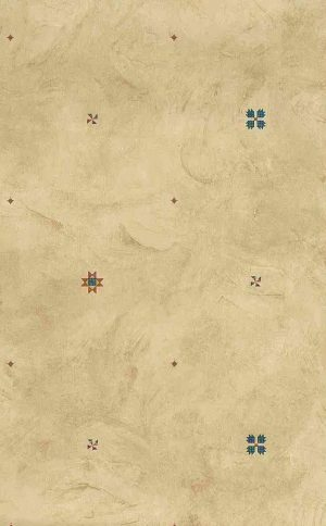 Southwestern style wallpaper,terrcotta,teal, yellow, plaster, faux finish,