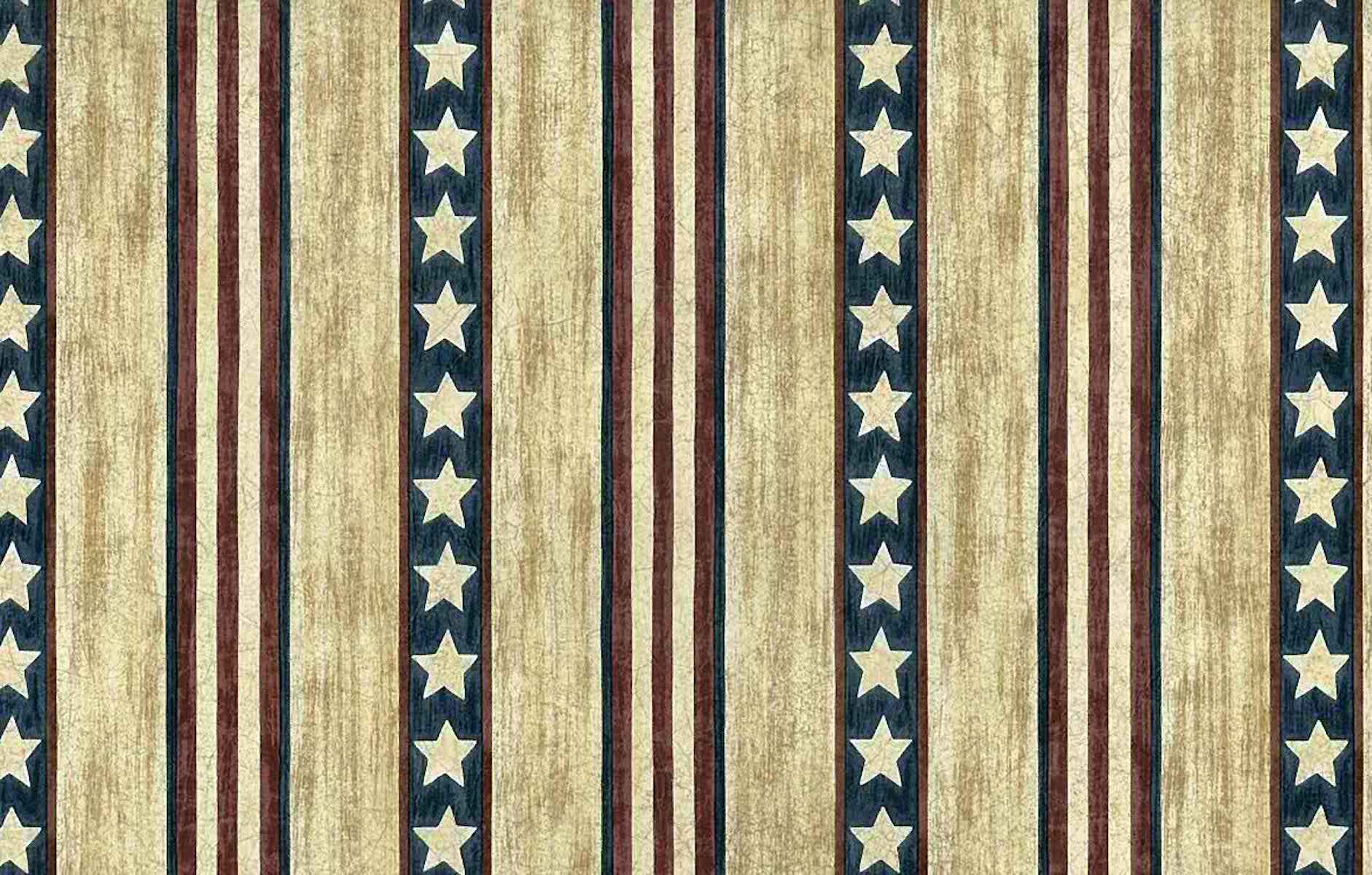 Striped Vintage Wallpaper Americana Stars Stripes Tan Blue RG22746