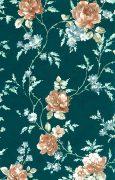 Dark green Cottage style floral wallpaper