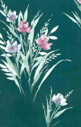 Shand Kydd vintage wallpaper, green satin, grasses, pink, white, lavender,