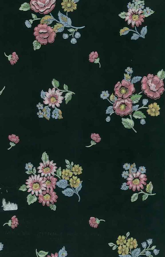 Black Floral Vintage Wallpaper Pink Blue Yellow Sm2147