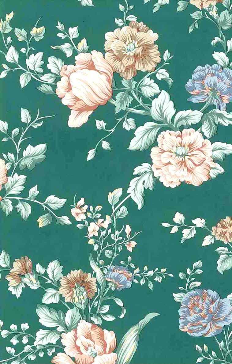 english cottage floral vintage wallpaper peach green pink 24719 d rs