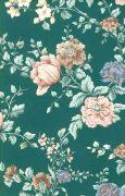 Peach, pink, blue, green floral wallpaper