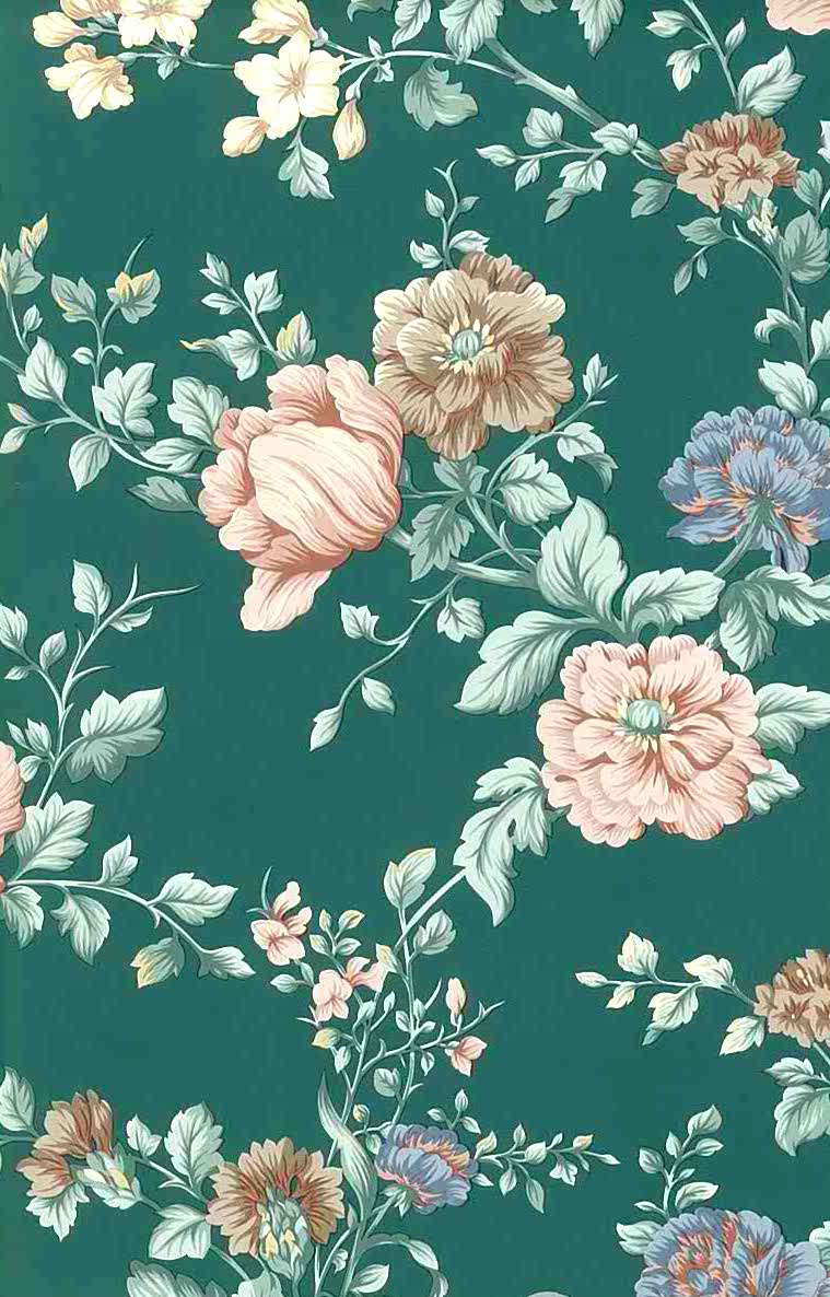English Cottage Floral Vintage Wallpaper Peach Green Pink 24719 Drs