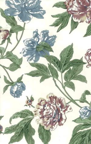 vintage wallpaper blue rose floral, white, green, cottage style